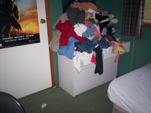 Harry's idea of cleaning up his room